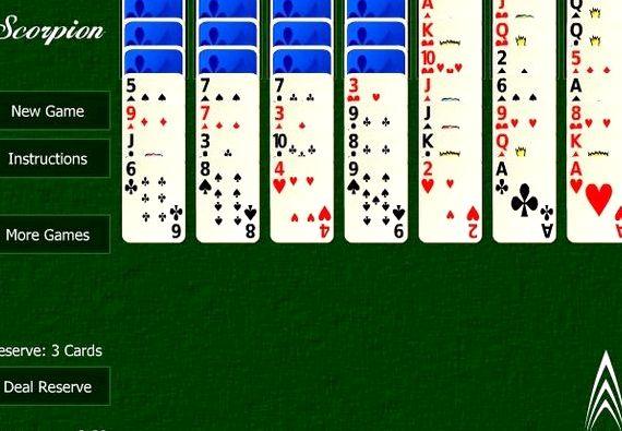 Карты пасьянс скорпион играть онлайн бесплатно