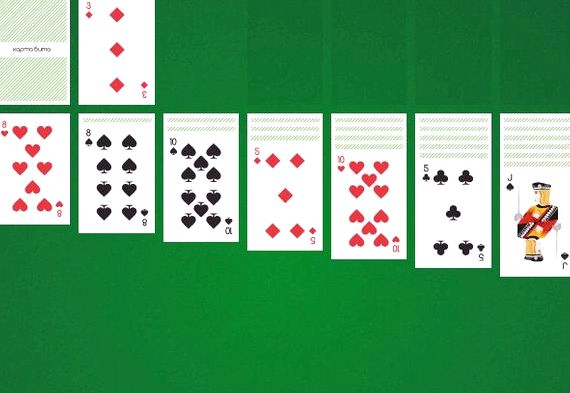 Пасьянс косынка играть по одной карте